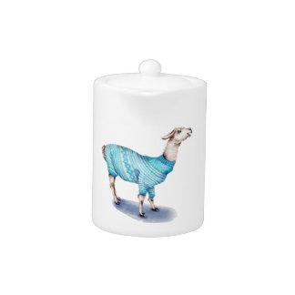 Watercolor Llama in Blue Sweater Teapot