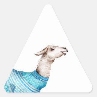 Watercolor Llama in Blue Sweater Triangle Sticker