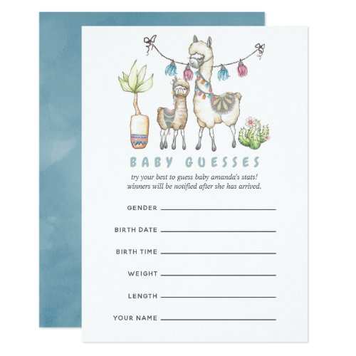 Watercolor Llama themed Baby Shower Guessing Game Invitation