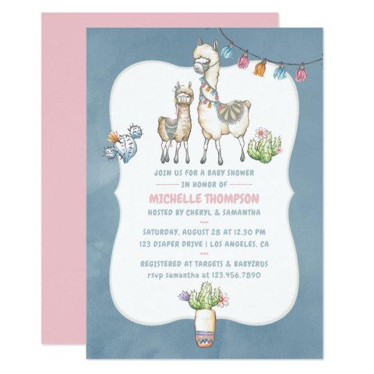 Watercolor Llama Themed Baby Shower Invitation Zazzle Com