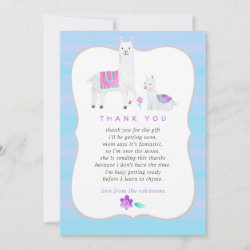Watercolor Llama themed Baby Shower Thank You