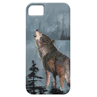 Watercolor Lonely Wolf Howling across Lake iPhone 5 Cases