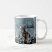 Watercolor Lonely Wolf Howling across Lake Coffee Mug