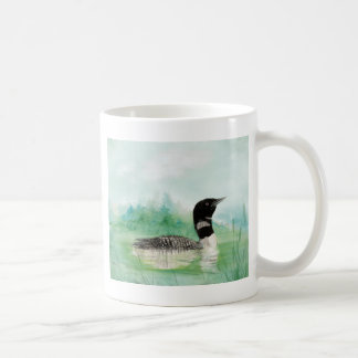 Watercolor Loon Wilderness Lake Bird Nature Art Coffee Mug