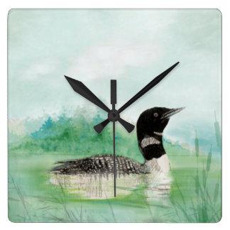 Watercolor Loon Wilderness Lake Bird Nature Art Square Wall Clock