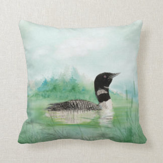 Watercolor Loon Wilderness Lake Bird Nature Art Throw Pillow
