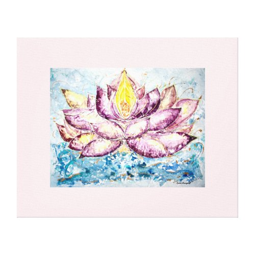 Watercolor Lotus Flower Canvas Print 32x26