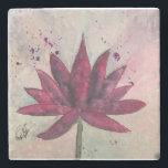 "Watercolor Lotus Flower Coasters<br><div class=""desc"">Watercolor Lotus design by artist,  Kathleen Hennricks,  marble coasters.</div>"