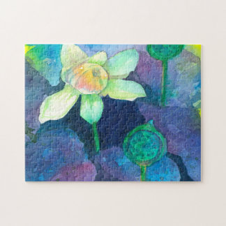 Watercolor Lotus Flower Jigsaw Puzzle