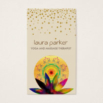 Watercolor Lotus Flower Logo Yoga Healing Health Business Card