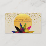 """Watercolor Lotus Flower Logo Yoga Healing Health Business Card<br><div class=""""desc"""">This is a beautiful lotus flower logo suitable for yoga,  healing arts,  health and wellness professionals to give soft and holistic profile through business cards. Confetti backdrop gives more elegant with moon shape covers the watercolor lotus in a artistic way.</div>"""