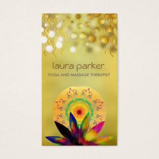 Watercolor Lotus Flower Logo Yoga Healing Health Business Card