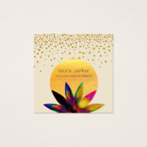 Watercolor Lotus Flower Logo Yoga Healing Health Square Business Card