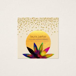 Watercolor Lotus Flower Logo Yoga Healing Health Square Business Card