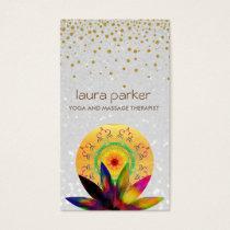 Watercolor Lotus Flower Pearl Logo Yoga Healing Business Card