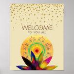 Watercolor Lotus Flower Yoga Healing Health Poster