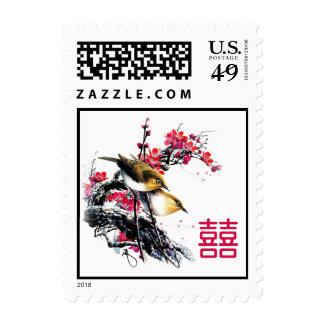 Watercolor Love Birds Chinese Xi Wedding Postage