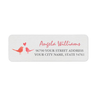 Watercolor Love Birds Label
