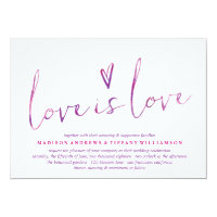 Watercolor Love is Love Gay Wedding Invitations