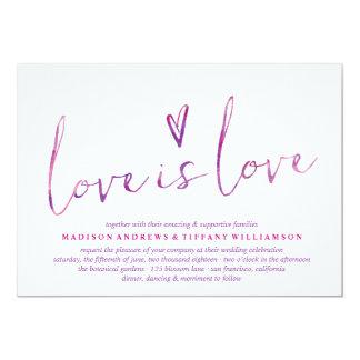 Watercolor Love Is Love Gay Wedding Invitations