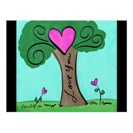 Watercolor Love Tree With Hearts and Flowers Postcard