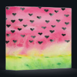 """Watercolor Love Watermelon Hearts 3 Ring Binder<br><div class=""""desc"""">Pretty watercolor watermelon design with love heart seed and LOVE watermelon fixed text. PLEASE NOTE: The text on this design is fixed and cannot be changed by the customer, but if you would like me to change it pleased contact me through my store via this page and I will be...</div>"""
