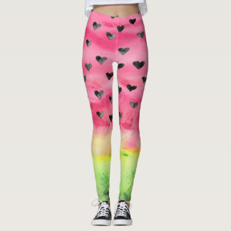 Watercolor Love Watermelon Hearts Leggings