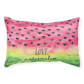 Watercolor Love Watermelon Hearts Pet Bed