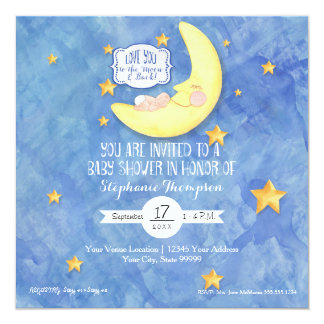 Watercolor Love You to the Moon n back Baby Shower Card
