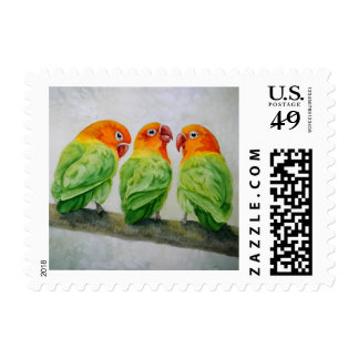 Watercolor Lovebird Stamps