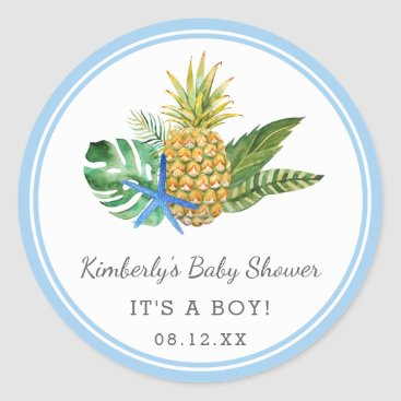 Toddler & Baby themed Watercolor Luau Baby Shower | Blue | Classic Round Sticker