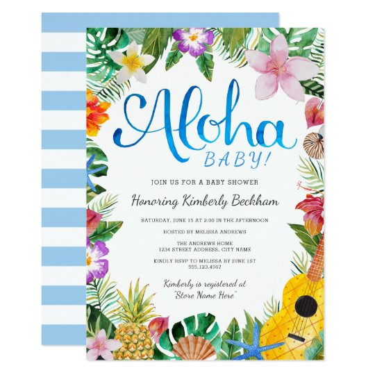 Captivating Watercolor Luau Baby Shower Invite | Blue