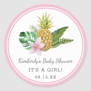 Toddler & Baby themed Watercolor Luau Baby Shower | Pink | Classic Round Sticker