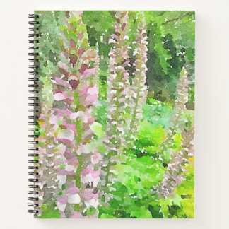 Watercolor Lupine Flowers Tree Park Bench Garden Notebook