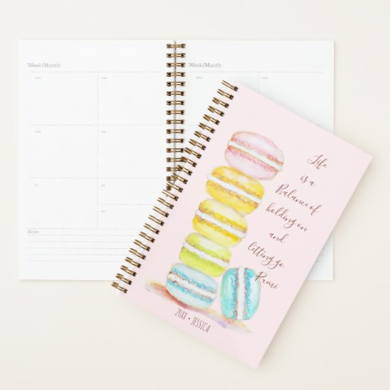 Watercolor Macaron Pastel Inspirational Quote Name Planner