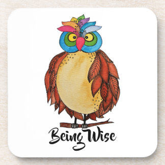 Watercolor Magical Owl With Rainbow Feathers Beverage Coaster