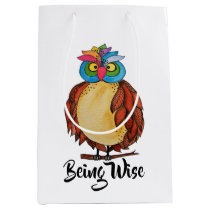 Watercolor Magical Owl With Rainbow Feathers Medium Gift Bag