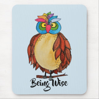 Watercolor Magical Owl With Rainbow Feathers Mouse Pad