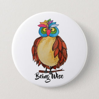 Watercolor Magical Owl With Rainbow Feathers Pinback Button