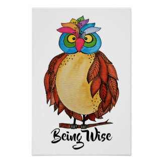 Watercolor Magical Owl With Rainbow Feathers Poster