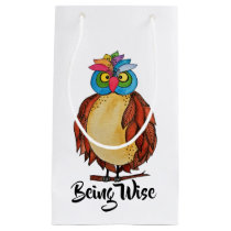 Watercolor Magical Owl With Rainbow Feathers Small Gift Bag