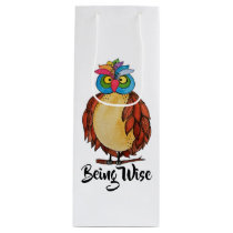 Watercolor Magical Owl With Rainbow Feathers Wine Gift Bag