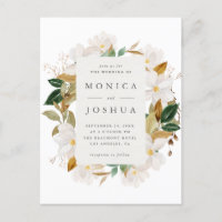 Watercolor Magnolia Blooms & Greenery Wedding Invitation Postcard