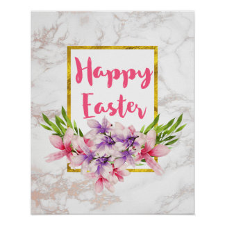 Watercolor Magnolia Florals on White Marble Easter Poster