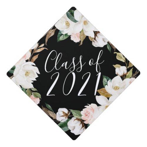 Watercolor Magnolias  Custom Class Year Graduation Cap Topper