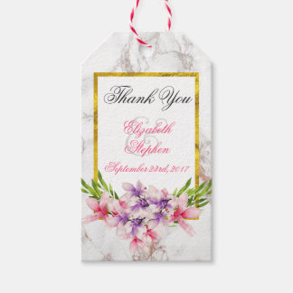 Watercolor Magnolias, Faux Marble Texture Wedding Gift Tags