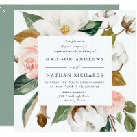 Watercolor Magnolias | Floral Wedding Invitation