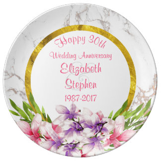 Watercolor Magnolias on Marble Anniversary Plate