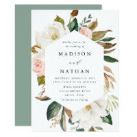 Watercolor Magnolias | Wedding Invitation