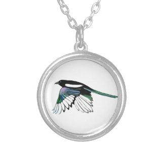 Watercolor Magpie Bird in Flight Nature Art Pendant